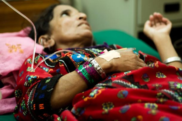 "Naz Bibi from Dera Bugti, Balochistan, has been suffering from the condition for nine years. ""Everyone left me but my husband. On way to Karachi, travelling was tough in the bus because fellow passengers were disgusted with my stench. I hope that will be over soon."""